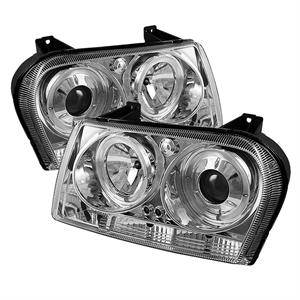 spyder led dual halo projector headlights chrome. Black Bedroom Furniture Sets. Home Design Ideas