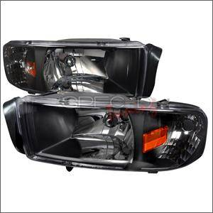 Spec D - Spec D Euro Head Lights (Black): Dodge Ram 1994 - 2001