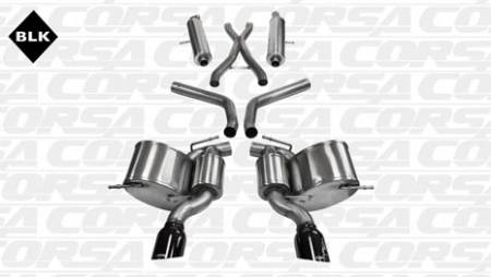 Corsa - Corsa Sport Cat-Back Exhaust (Black): Jeep Grand Cherokee 6.4L SRT 2012 - 2020