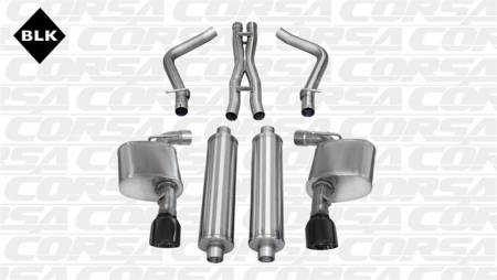 Corsa - Corsa Sport Cat-Back Exhaust (Black): Dodge Charger SRT8 2012 - 2014