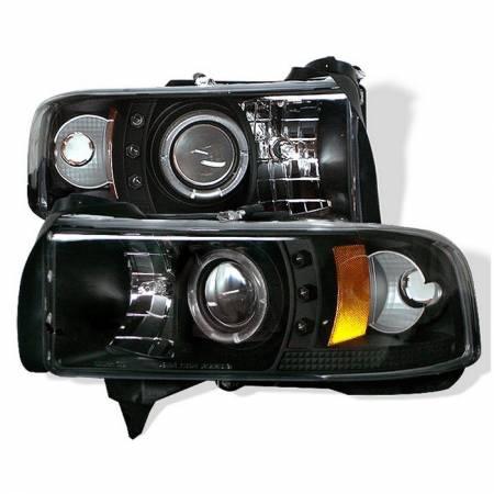 Spyder - Spyder LED Halo Projector Headlights (Black): Dodge Ram 1994 - 2002