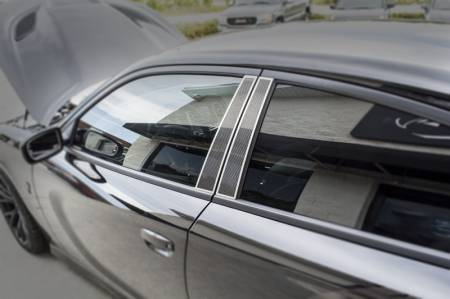 American Car Craft - American Car Craft Carbon Fiber Door Pillar Plate with Brushed Trim: Dodge Charger 2011 - 2020