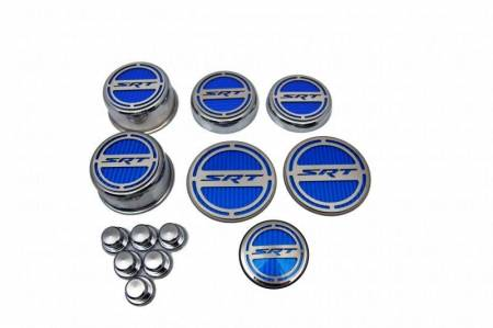 """American Car Craft - American Car Craft """"SRT"""" Deluxe Fluid & Shock Tower Cap Covers (13PC): Dodge Challenger V8 2008 - 2021"""