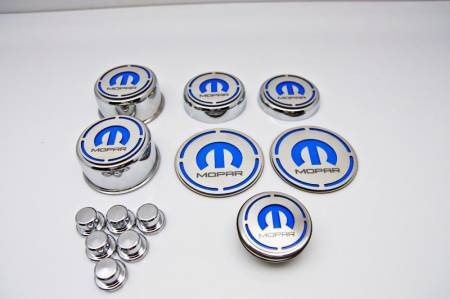 """American Car Craft - American Car Craft """"MOPAR"""" Deluxe Fluid & Shock Tower Cap Covers (13PC): Dodge Challenger V8 2008 - 2021"""