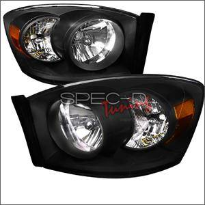 Dodge Ram Lighting Parts - Dodge Ram Headlights - Spec D - Spec D Euro Head Lights (Black): Dodge Ram 2006 - 2008