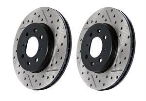 Dodge Challenger Brake Upgrades - Dodge Challenger Brake Rotors - Stoptech - Stoptech Drilled & Slotted Front Brake Rotors: 300C / Challenger / Charger / Magnum 5.7L Hemi 2005 - 2018