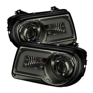 HEMI LIGHTING PARTS - Hemi Headlights - Spyder - Spyder LED DRL Projector Headlights (Smoke): Chrysler 300C 2005 - 2010