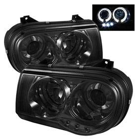 HEMI LIGHTING PARTS - Hemi Headlights - Spyder - Spyder LED Dual Halo Projector Headlights (Smoke): Chrysler 300C 2005 - 2010