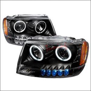 HEMI LIGHTING PARTS - Hemi Headlights - Spec D - Spec D CCFL Projector Headlights (Black):Jeep Grand Cherokee 1999 - 2004