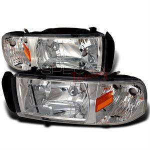 Dodge Ram Lighting Parts - Dodge Ram Headlights - Spec D - Spec D Euro Head Lights (Chrome): Dodge Ram 1994 - 2001