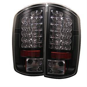 HEMI LIGHTING PARTS - Hemi Tail Lights - Spyder - Spyder Black LED Tail Lights: Dodge Ram 2002 - 2006 (All Models)