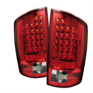 Dodge Ram Lighting Parts - Dodge Ram Tail Lights - Spyder - Spyder Red / Clear LED Tail Lights: Dodge Ram 2007 - 2008 (All Models)