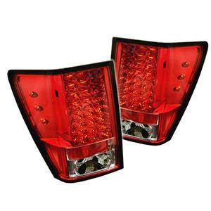 Jeep Grand Cherokee Lighting Parts - Jeep Grand Cherokee Tail Lights - Spyder - Spyder Red / Clear LED Tail Lights: Jeep Grand Cherokee 2005 - 2006