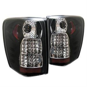 HEMI LIGHTING PARTS - Hemi Tail Lights - Spyder - Spyder Black LED Tail Lights: Jeep Grand Cherokee 1999 - 2004