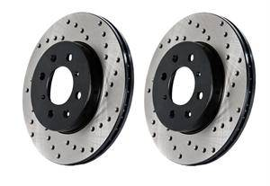 Chrysler 300 Brake Upgrades - Chrysler 300 Brake Rotors - Stoptech - Stoptech Drilled Front Brake Rotors: 300C / Challenger / Charger / Magnum SRT8 2006 - 2019