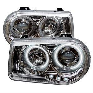 HEMI LIGHTING PARTS - Hemi Headlights - Spyder - Spyder CCFL Dual Halo Projector Headlights (Chrome): Chrysler 300C 2005 - 2010