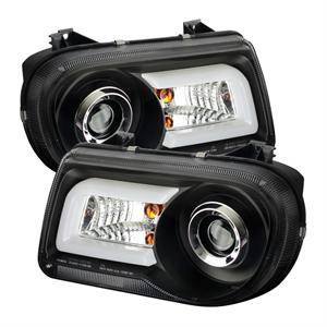 Chrysler 300 Lighting Parts - Chrysler 300 Projector Headlights - Spyder - Spyder LED DRL Projector Headlights (Black): Chrysler 300C 2005 - 2010