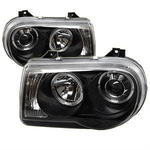 Chrysler 300 Lighting Parts - Chrysler 300 Projector Headlights - Spyder - Spyder LED Dual Halo Projector Headlights (Black): Chrysler 300C 2005 - 2010