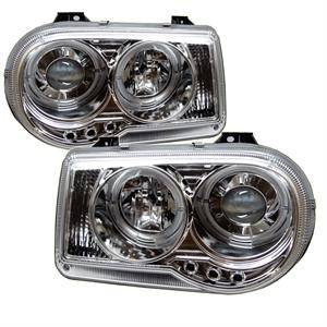 HEMI LIGHTING PARTS - Hemi Headlights - Spyder - Spyder LED Dual Halo Projector Headlights (Chrome): Chrysler 300C 2005 - 2010