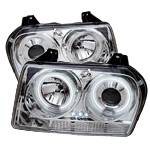 HEMI LIGHTING PARTS - Hemi Headlights - Spyder - Spyder CCFL Dual Halo Projector Headlights (Chrome): Chrysler 300 2005 - 2008