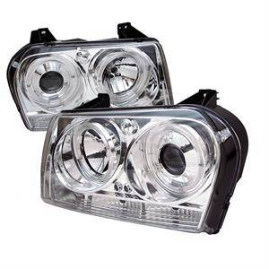 HEMI LIGHTING PARTS - Hemi Headlights - Spyder - Spyder LED Dual Halo Projector Headlights (Chrome): Chrysler 300 2005 - 2008