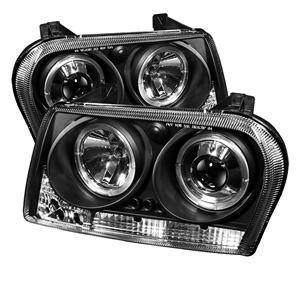 Chrysler 300 Lighting Parts - Chrysler 300 Projector Headlights - Spyder - Spyder LED Dual Halo Projector Headlights (Black): Chrysler 300 2009 - 2010