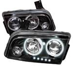 HEMI LIGHTING PARTS - Hemi Headlights - Spyder - Spyder CCFL Dual Halo Projector Headlights (Black): Dodge Charger 2006 - 2010