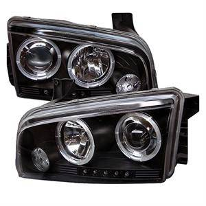 HEMI LIGHTING PARTS - Hemi Headlights - Spyder - Spyder LED Dual Halo Projector Headlights (Black): Dodge Charger 2006 - 2010