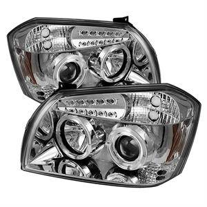 Dodge Magnum Lighting Parts - Dodge Magnum Headlights - Spyder - Spyder LED Dual Halo Projector Headlights (Chrome): Dodge Magnum 2005 - 2007