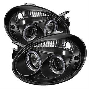 HEMI LIGHTING PARTS - Hemi Headlights - Spyder - Spyder LED Dual Halo Projector Headlights (Black): Dodge Neon 2003 - 2005 (All Models)