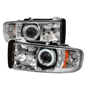 Dodge Ram Lighting Parts - Dodge Ram Headlights - Spyder - Spyder CCFL Halo Projector Headlights (Chrome): Dodge Ram 1994 - 2002