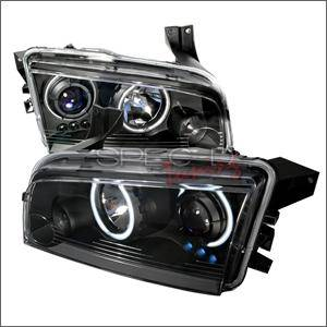 HEMI LIGHTING PARTS - Hemi Headlights - Spec D - Spec D CCFL Projector Headlights (Black):Dodge Charger 2005 - 2010