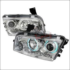 HEMI LIGHTING PARTS - Hemi Headlights - Spec D - Spec D CCFL Projector Headlights (Chrome):Dodge Charger 2006 - 2010