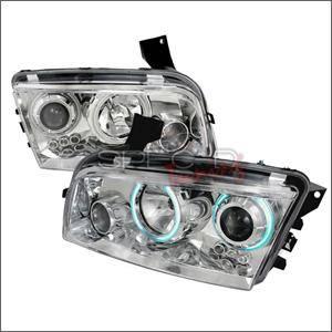 Spec D CCFL Projector Headlights (Chrome):Dodge Charger 2006 - 2010