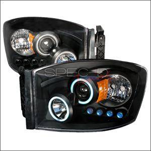 Dodge Ram Lighting Parts - Dodge Ram Headlights - Spec D - Spec D CCFL Projector Headlights (Black):Dodge Ram 2006 - 2008