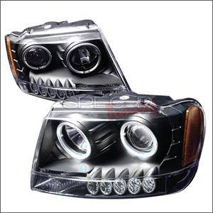 HEMI LIGHTING PARTS - Hemi Headlights - Spec D - Spec D LED Projector HeadLights (Black): Jeep Grand Cherokee 1999 - 2004