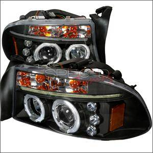 HEMI LIGHTING PARTS - Hemi Headlights - Spec D - Spec D LED Projector HeadLights (Black): Dodge Dakota / Durango 1997 - 2004