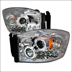 Dodge Ram Lighting Parts - Dodge Ram Headlights - Spec D - Spec D CCFL Projector Headlights (Chrome):Dodge Ram 2006 - 2008
