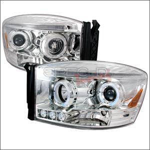HEMI LIGHTING PARTS - Hemi Headlights - Spec D - Spec D LED Projector HeadLights (Chrome): Dodge Ram 2006 - 2008