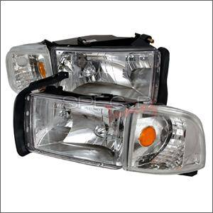 HEMI LIGHTING PARTS - Hemi Headlights - Spec D - Spec D Euro Head Lights (Chrome): Dodge Ram 1994 - 2001