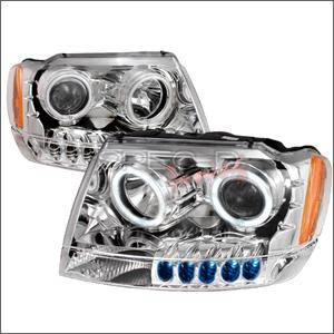 Dodge Charger Lighting Parts - Dodge Charger Headlights - Spec D - Spec D CCFL Projector Headlights (Chrome):Jeep Grand Cherokee 1999 - 2004