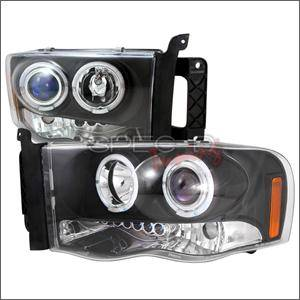 HEMI LIGHTING PARTS - Hemi Headlights - Spec D - Spec D LED Projector HeadLights (Black): Dodge Ram 2002 - 2005