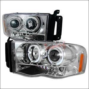 HEMI LIGHTING PARTS - Hemi Headlights - Spec D - Spec D LED Projector HeadLights (Chrome): Dodge Ram 2002 - 2005