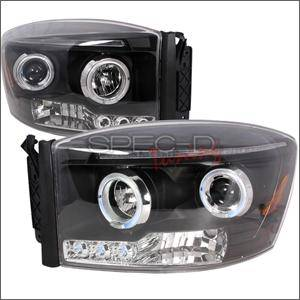 HEMI LIGHTING PARTS - Hemi Headlights - Spec D - Spec D LED Projector HeadLights (Black): Dodge Ram 2006 - 2008