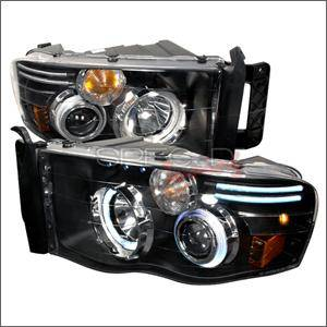 HEMI LIGHTING PARTS - Hemi Headlights - Spec D - Spec D CCFL Projector Headlights (Black):Dodge Ram 2002 - 2005