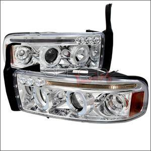 HEMI LIGHTING PARTS - Hemi Headlights - Spec D - Spec D LED Projector HeadLights (Chrome): Dodge Ram 1994 - 2001