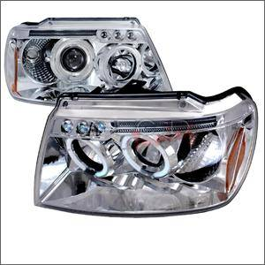 HEMI LIGHTING PARTS - Hemi Headlights - Spec D - Spec D LED Projector HeadLights (Chrome): Jeep Grand Cherokee 1999 - 2004