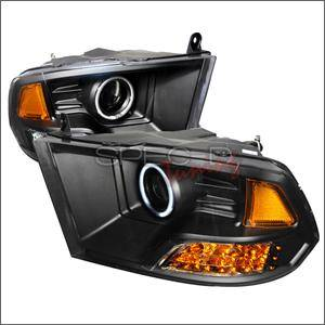 HEMI LIGHTING PARTS - Hemi Headlights - Spec D - Spec D CCFL Projector Headlights (Black):Dodge Ram 2009 - 2014