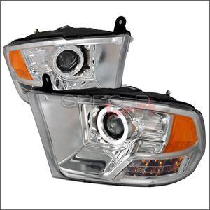 HEMI LIGHTING PARTS - Hemi Headlights - Spec D - Spec D CCFL Projector Headlights (Chrome):Dodge Ram 2009 - 2014