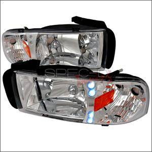 HEMI LIGHTING PARTS - Hemi Headlights - Spec D - Spec D Euro LED Head Lights (Chrome): Dodge Ram 1994 - 2001